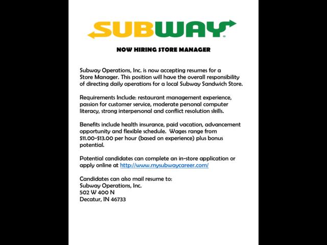 resume job description for subway